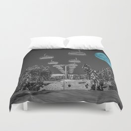 Chair Lift to the Teal Moon Duvet Cover