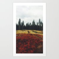 hiking Art Prints featuring Hiking by Elizabeth Næss