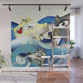 Bahamas swimming pigs surfing waves Wall Mural