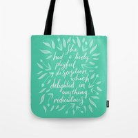 pride and prejudice Tote Bags featuring Pride and Prejudice by IndigoEleven