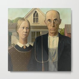 American Gothic Oil Painting by Grant Wood Metal Print