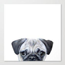 pug Dog illustration original painting print Canvas Print