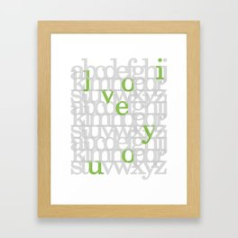 The ABC of i love you. In Olive Green. Framed Art Print