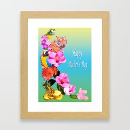 Happy Mother's Day Exotic Flowers And Animals Framed Art Print