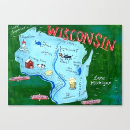 WISCONSIN map Canvas Print