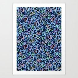 Calaveras del Dia de los Muertos azules. Art Print