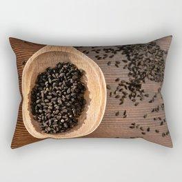 Black Nigella Sativa dry seeds portion Rectangular Pillow