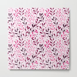pink,magenta and lili abstract seaweed plants seamless pattern Metal Print