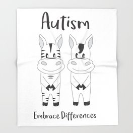 Autism Embrace Differences Throw Blanket