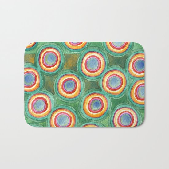 Multicolorful Circles in Front of Horizontal Stripes Bath Mat