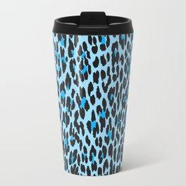 Animal Print, Spotted Leopard - Blue Black  Travel Mug