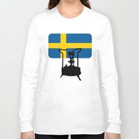 sweden Long Sleeve T-shirts featuring Sweden flag | Pressure stove by mailboxdisco