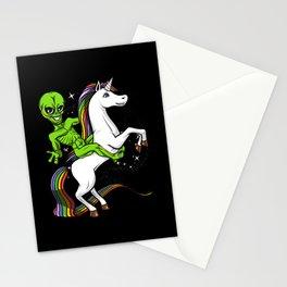 Space Alien Riding Unicorn Cosmic UFO Stationery Cards