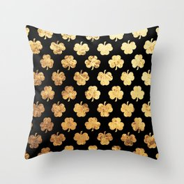 Golden Shamrocks Throw Pillow