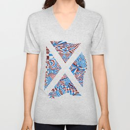 Letter X, Blue/Red Abstract (Ink Drawing) Unisex V-Neck
