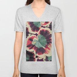 Colorful Geranium Illustrated Print Unisex V-Neck