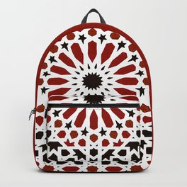 Red Geometric Moroccan Traditional Tiles Artwork. Backpack