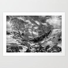 Waterfall Snowfall Art Print