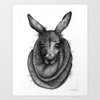 kangaroo Art Prints featuring Kangaroo  by Tim Van Den Eynde