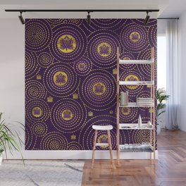 Gold and deep purple Lotus FLower Wall Mural