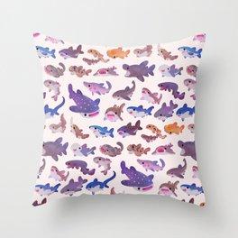 Shark day - pastel Throw Pillow