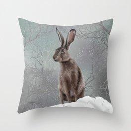 Winter Hare Throw Pillow