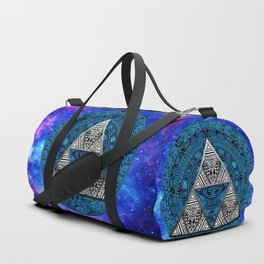 Triforce Circle With Blue Nebula Duffle Bag