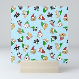 Santa dogs - holiday pattern Mini Art Print