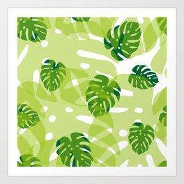 green monstera jungle Art Print