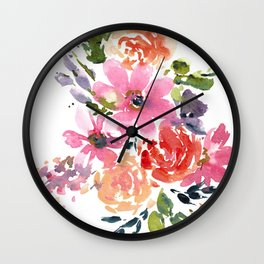 Pink and Purple Bouquet Wall Clock