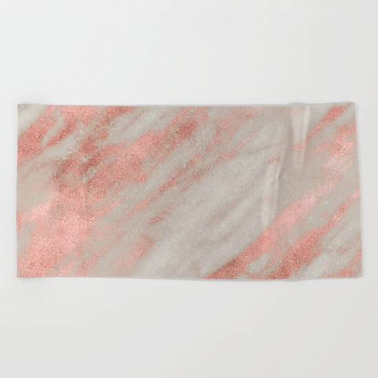 Smooth rose gold on gray marble Beach Towel