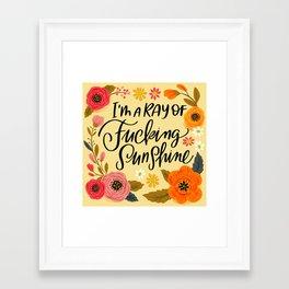 Pretty Swe*ry: I'm a Ray of Fucking Sunshine Framed Art Print
