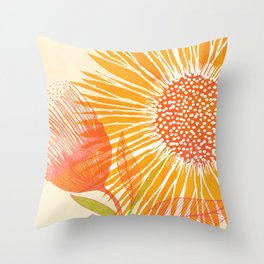 Bright Sunflower / Floral Illustration Throw Pillow