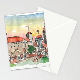 Nuremberg Germany Imperial Castle at Sunset Stationery Cards