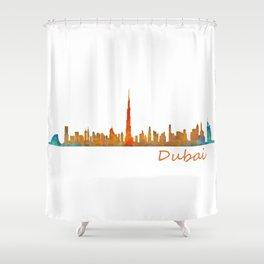 Dubai, emirates, City Cityscape Skyline watercolor art v1 Shower Curtain
