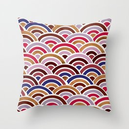 Japanese Seigaiha Wave – Mauve & Gold Palette Throw Pillow