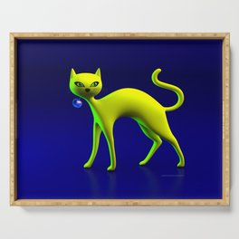 The Yellow Cat And Glass Blue Cherry Serving Tray