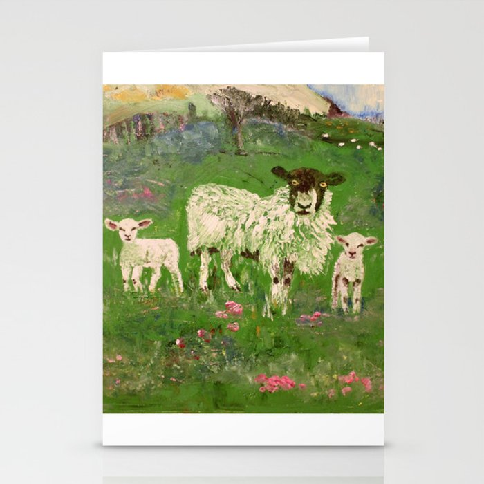 Lambs in the Meadow Stationery Cards