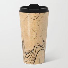 Hokusai, a woman combs her hair -manga, japan,hokusai,japanese,北斎,ミュージシャン Travel Mug