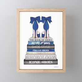 Navy, Books, Fashion books, Fashion, Fashion art, fashion poster, fashion wall art, Shoes Framed Mini Art Print