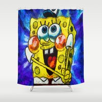 spongebob Shower Curtains featuring A Giddy Spongebob by Joe Misrasi