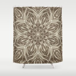 off white sepia swirl mandala Shower Curtain