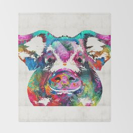 Colorful Pig Art - Squeal Appeal - By Sharon Cummings Throw Blanket