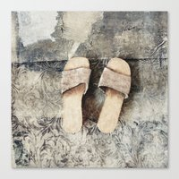 shoes Canvas Prints featuring shoes by woman