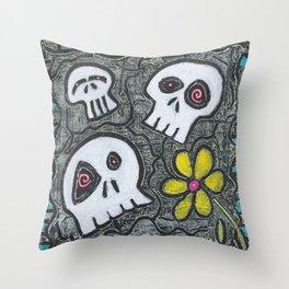 Digging for Skulls Throw Pillow