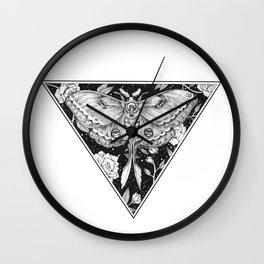 Floral Lunar Moth Drawing Wall Clock