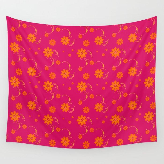 Orange daisy flowers on hot pink background wall tapestry by orange daisy flowers on hot pink background wall tapestry mightylinksfo