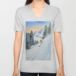 Skiing - The Clear Lady Leader Unisex V-Neck