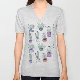 Cactus Plants in Cute Pots, Pattern Unisex V-Neck