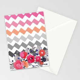 Colourful Flowers and Zig Zags Stationery Cards